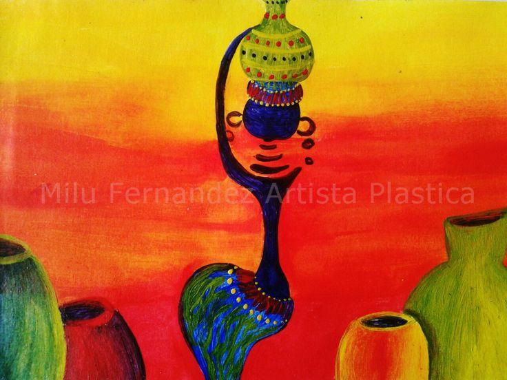 Africana y vasijas (acrílicos)