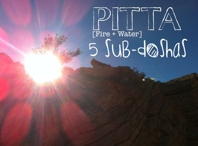 Pitta = Fire +Water 1. Pachaka Pitta: The fire which digests things. It is located in the small intestine, governs the power of digestion, absorption and assimilation, and it's the basis and support of all other forms of pitta. Pachaka pitta is often the first consideration in the management of pitta related conditions and is considered to be our primary source of heat as the digestive fire. 2. Ranjaka Pitta: The fire that imparts color. It is located in the liver, spleen, stomach and small…