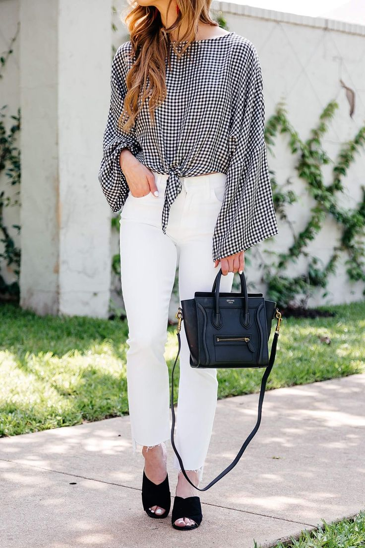 cropped flares outfit, gingham topshop top, marc fisher mules