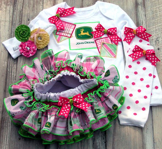 JOHN DEERE Girls Ruffle Bloomer Skirt Set Baby by HottieTottieGirl