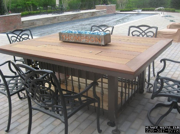 Wrought iron and iron wood fire table. Sunset Metal Fab