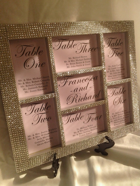 Silver Bling Wedding Seating Chart - Seating Board
