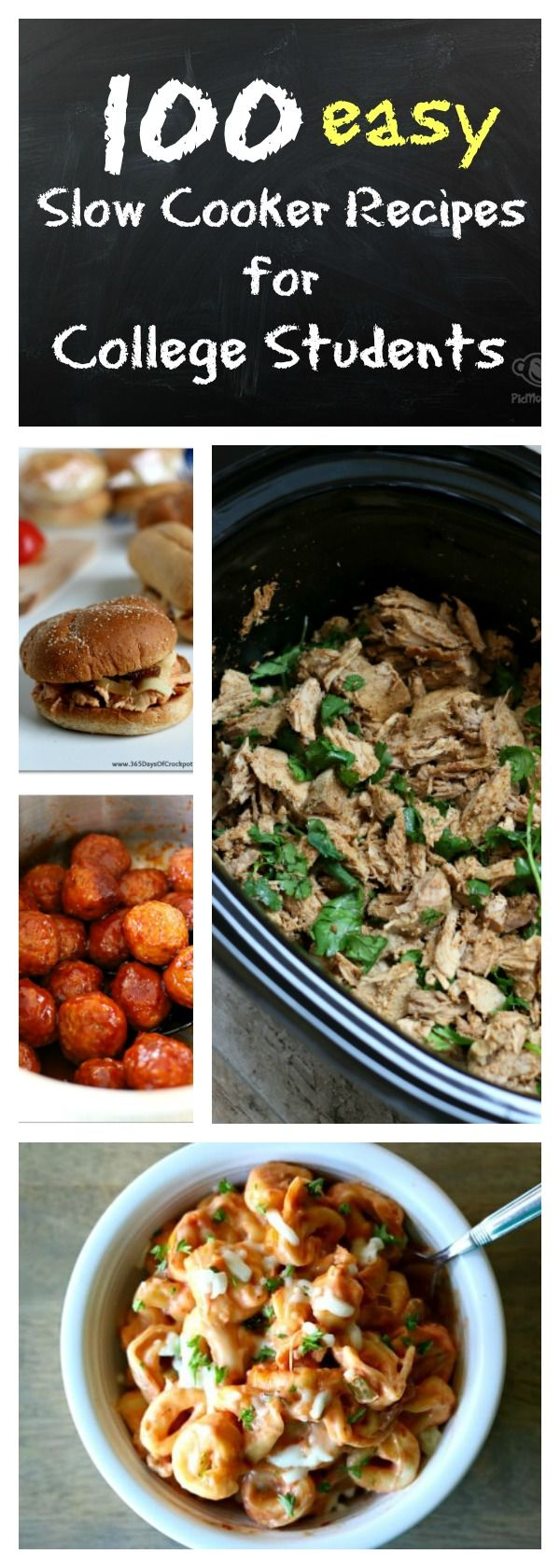100 slow cooker recipes for college students: easy and quick to make recipes with 5 ingredients or less. As you pack for college remember your crockpot!