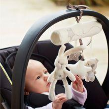 Konijn baby muziek opknoping bed veiligheid seat knuffel Hand Bel Multifunctionele Knuffel Wandelwagen Mobiele Geschenken WJ141(China (Mainland))