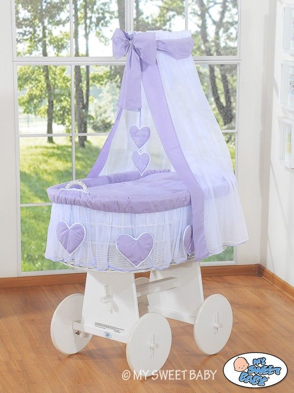 Wicker Crib Vintage Moses Basket bassinet Hearts with drape in Violet-White - €239,00 #babyshoppingmarket #wicker #crib