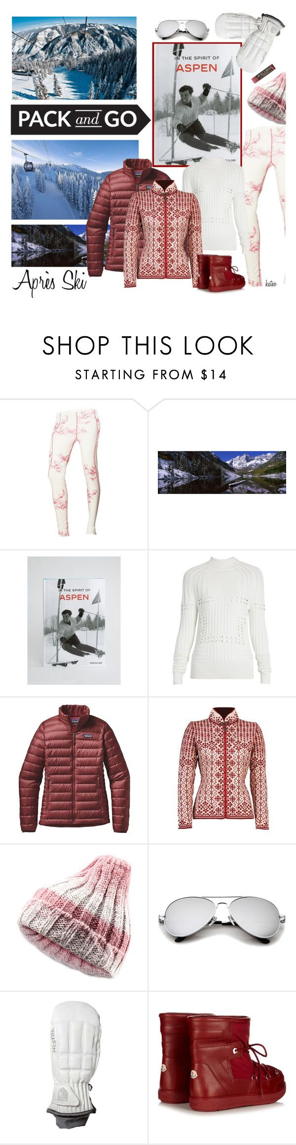 """""""Ski Bunny"""" by kateo ❤ liked on Polyvore featuring Helly Hansen, Assouline Publishing, Mary Katrantzou, Patagonia, Dale of Norway, Hestra, Moncler, Packandgo and 6272"""