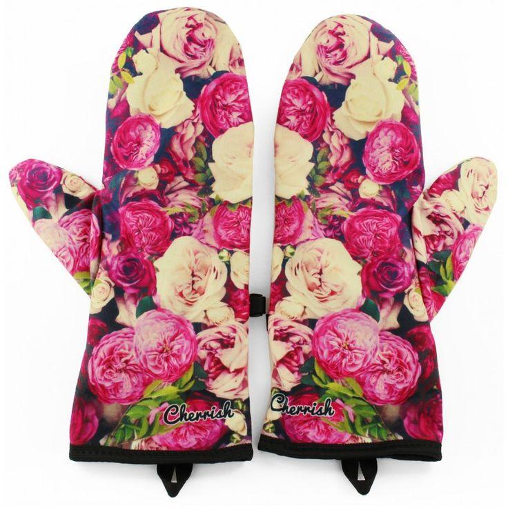 Rękawiczki Cherrish Różowe Kwiaty / pink flowers gloves - polscy projektanci / polish fashion designers - ELSKA