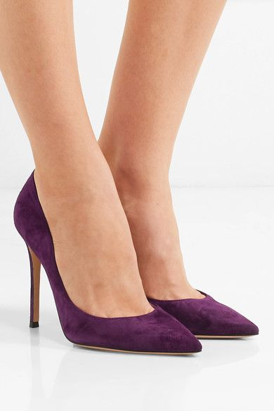 GIANVITO ROSSI Heel measures approximately 105mm/ 4 inches Purple suede Slip on Designer color: Prune Made in Italy
