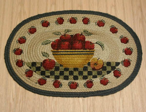 Kitchen Apple Rugs   Country Rug (Apple Basket Rug) Braided Oval Kitchen Rug  Country