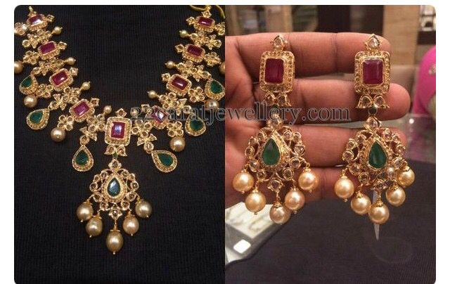Rubies, emeralds and southsea pearls necklace and earrings