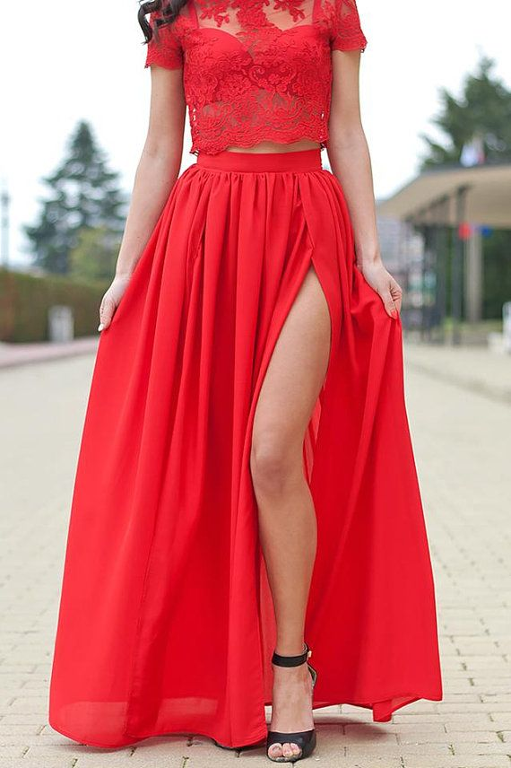 1d385be27d Chiffon Skirt / Double Slit Maxi Skirt / Sexy Maxi Skirt ...