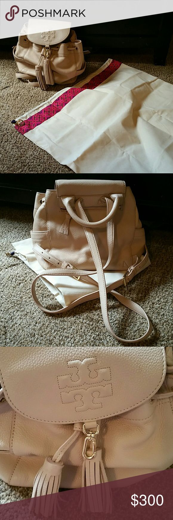 "Tory Burch neutral backpack purse 9"" ?10"", fell in love with it but needed a tad more space.....has dust bag, will send with bag. Used maybe 10 times. Purchased this year. Going to miss this one! Tory Burch Bags Backpacks"