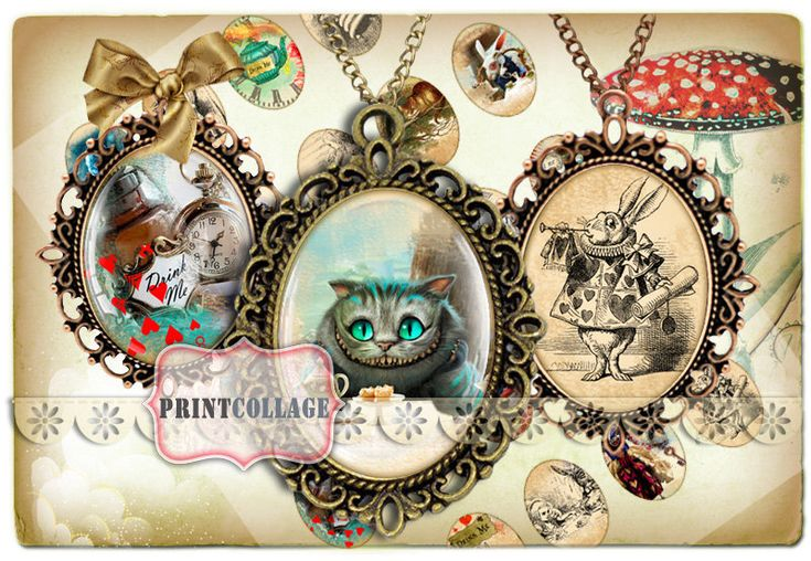 Digital Printable Sheets Alice Wonderland 40x30 30x22 25x18 18x13mm Cabochon oval images Clip Art for pendants Instant download images C59 - pinned by pin4etsy.com