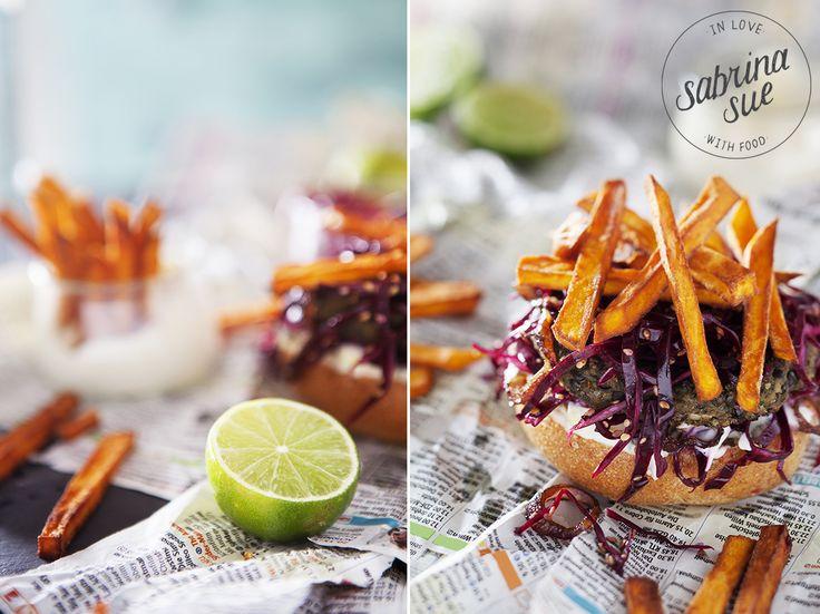 Linsenburger mit Sweet Potato Fries, Limetten Mayo ...