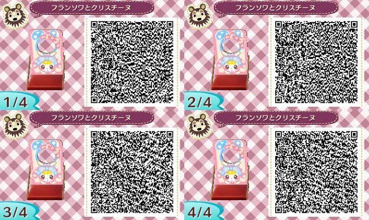 ♥ Bubblegum Sisters Kawai Pink and Blue Face board Animal Crossing New Leaf Qr Code
