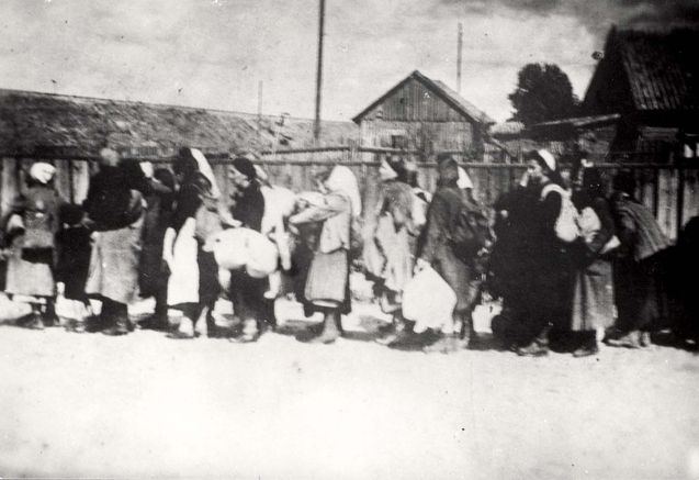 Bialystok, Poland, Deportation of Jewish women to the death camps.