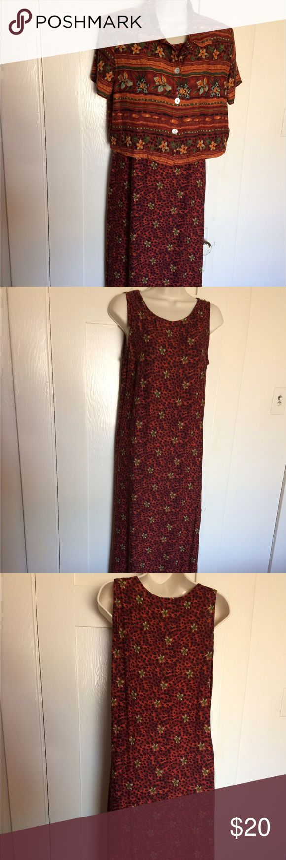 """🆕 Pretty Worthington orange and brown maxi dress Worthington maxi dress. There is s sleeveless dress and a little jacket. Shoulder pads. Jacket has three buttons.   Lying flat measurements:   Bust: 18"""" Waist: 17"""" Length: 51""""  100% Rayon  No stains or tears   Offers welcome   Thanks for coming by. Please look at the rest of my closet. Worthington Dresses Maxi"""