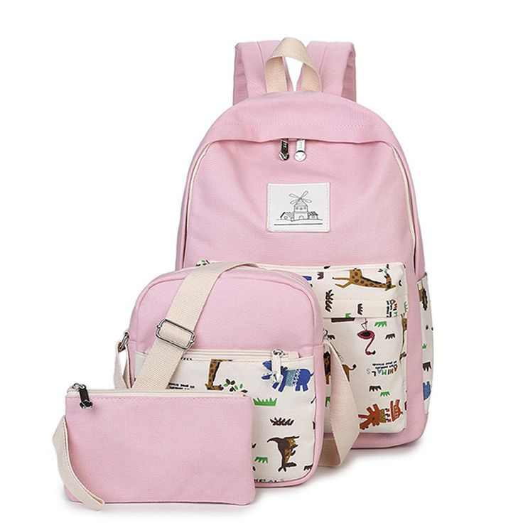 2017 Canvas Shoulders Backpack College Wind Fashion Printed Middle School Three-piece Set Schoolbag Teenagers Book Bag for women