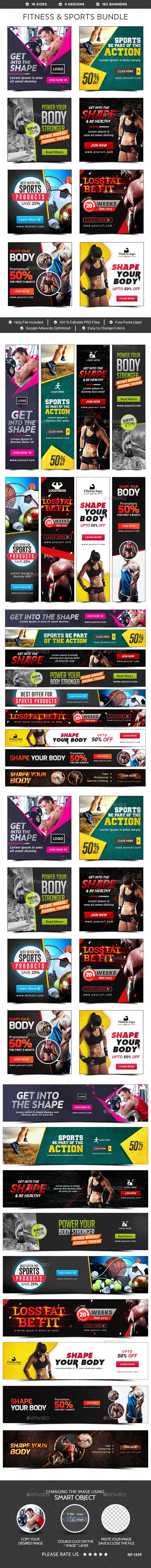 Fitness & Sports Banners Bundle - 9 Sets - 162 Banners - Banners & Ads Web Elements