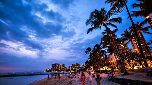 Hawaii- The night scene on Waikiki Beach in Honolulu.