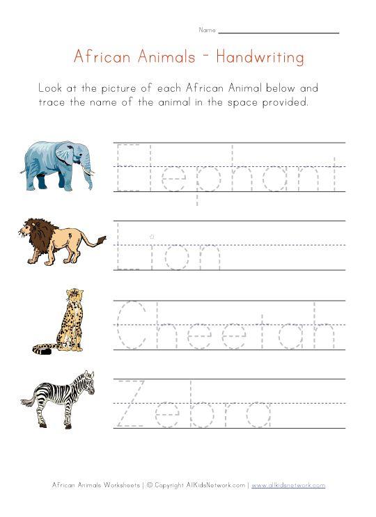 africa animals handwriting worksheet preschool theme animals around the world formerly known. Black Bedroom Furniture Sets. Home Design Ideas