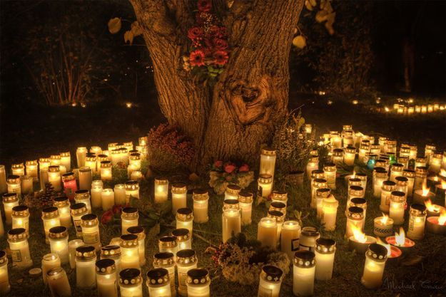 Surround your outdoor space with candles.   12 Simple Ways To Throw A Classy Halloween Party #outdoorparty