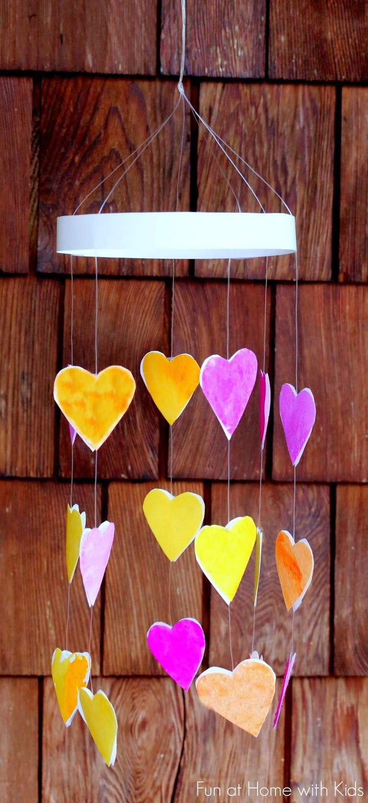 Crystallized Heart Mobile for Kids from Fun at Home with Kids