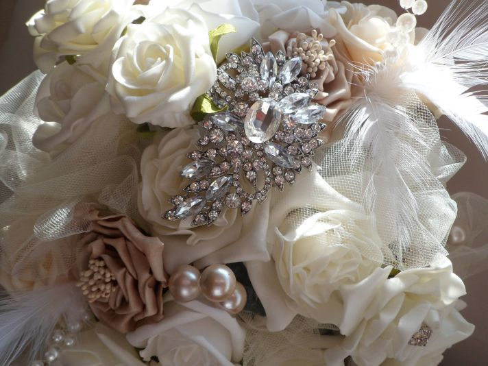 Bridal Bouquet from The Anatomy of a Downton Abbey Wedding   OneWed: Bridal Bouquets, Brooches Bouquets, Vintage Weddings, Vintage Bouquets, Weddings Vintage, Vintage Brooches, Birdcages Veils, Bouquets Idea, Weddings Idea