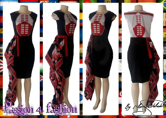Knee length fitted Swati dress in red, black and white. With a hip frill. #mariselaveludo #traditionalwear #passion4fashion #traditionaldress #swati #swatidress #swazidress