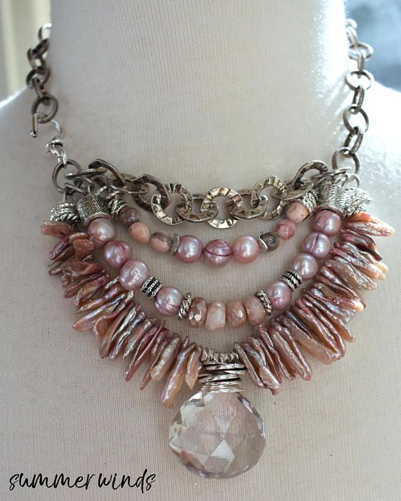 necklace pink amethyst necklace multi strand necklace pink