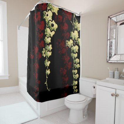 Hanging Vines in Red and Green Shower Curtain - shower curtains home decor custom idea personalize bathroom