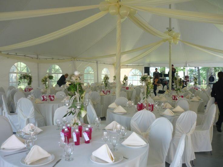 Décoration de salle, mariage, blanc, fleurs, ruban, décoration, Le jardin d'Andrée-Anne, www.lejardin.ca