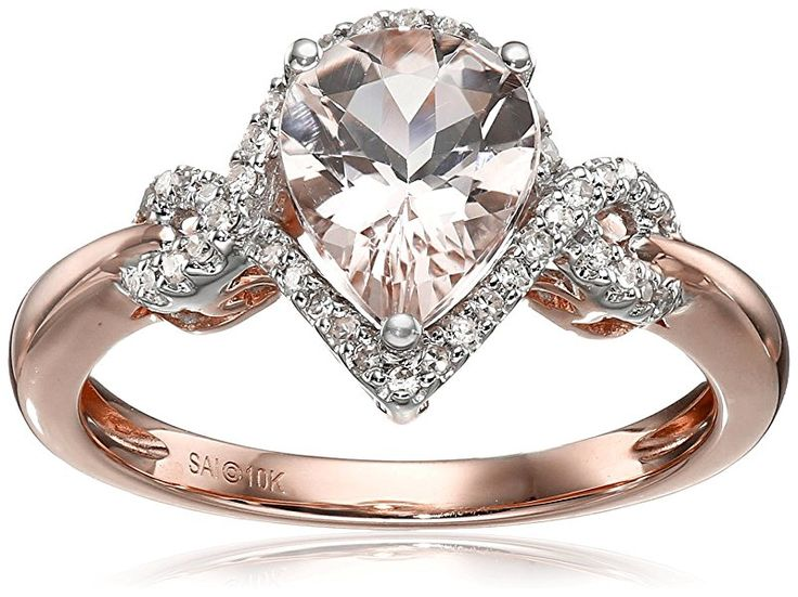 10k Pink and White Gold Morganite and Diamond Pear Ring, Size 7