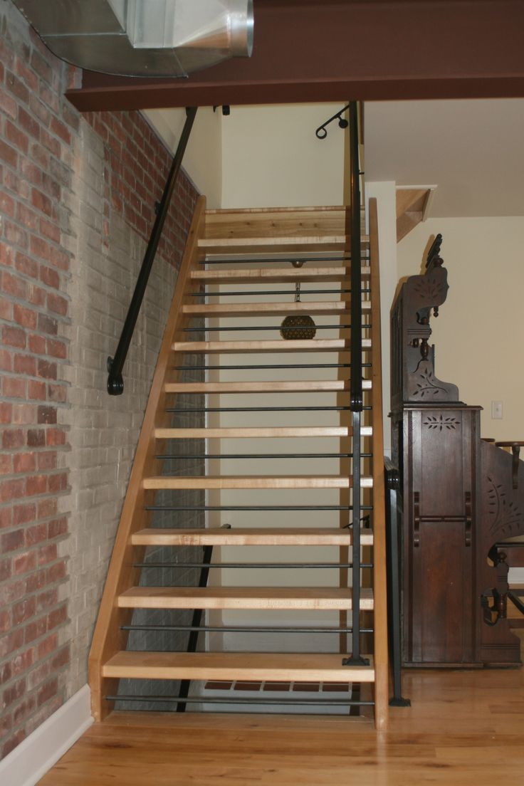 Basement Stairs Ideas: Open Staircase With Wood Treads And Risers