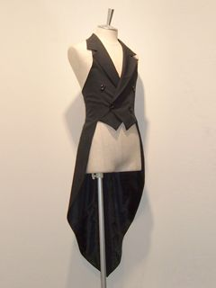 double-breasted waistcoat with laced back & tails - atelier boz