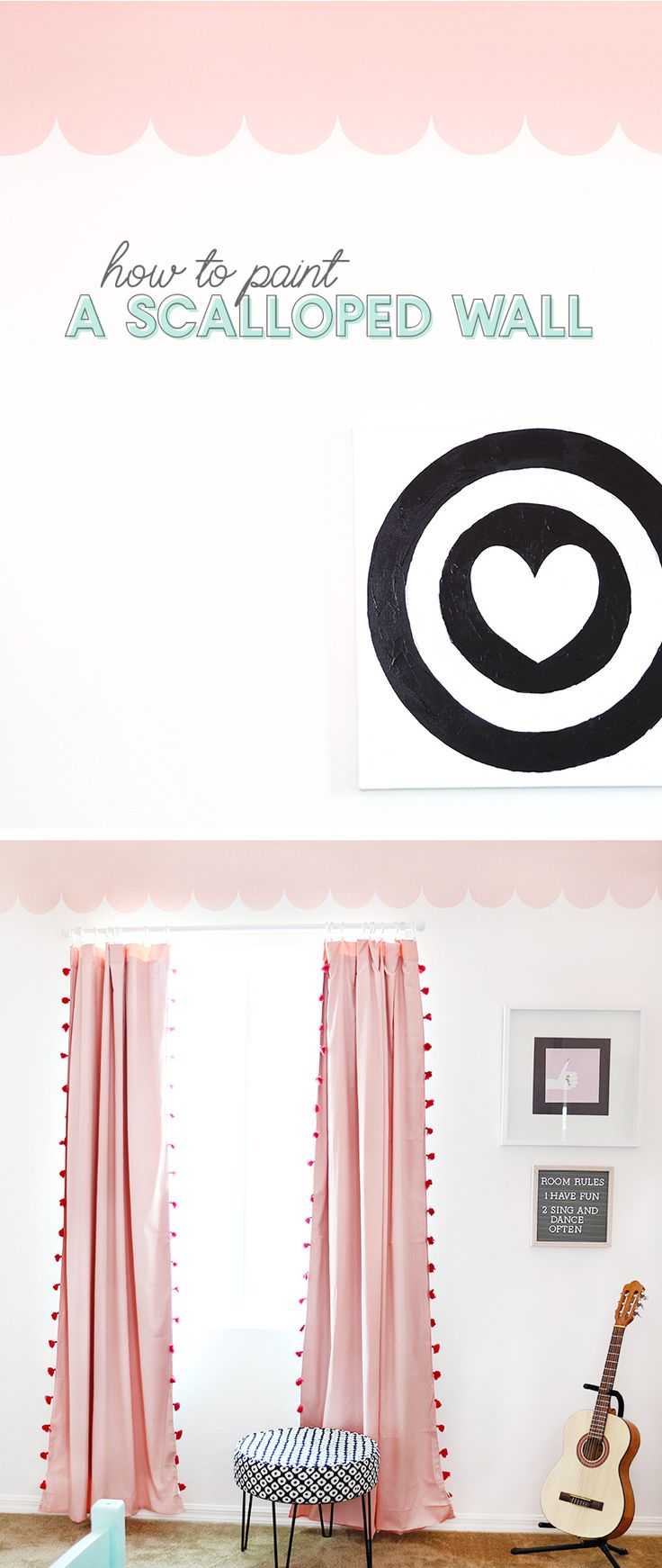 Learn how to paint a scalloped wall with Devine Color. This modern girl's bedroom makeover combines a sweet pink DIY scalloped wall treatment with graphic black and white accents for a look that is fresh, girly, and fun. #DevineTargetStyle #ad