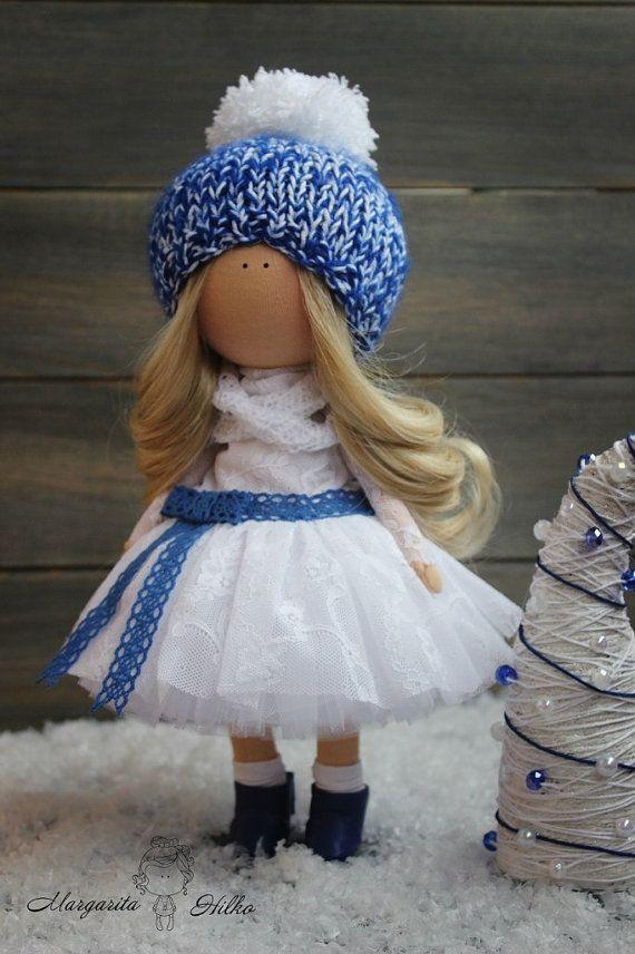 Hand made Decor doll white blue blonde Home by AnnKirillartPlace