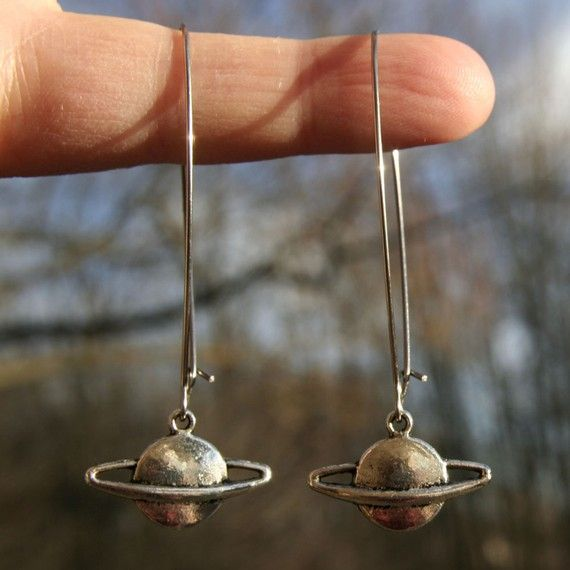 Saturn Earrings Long  Christa McAuliffe by lilypickford on Etsy, $12.00