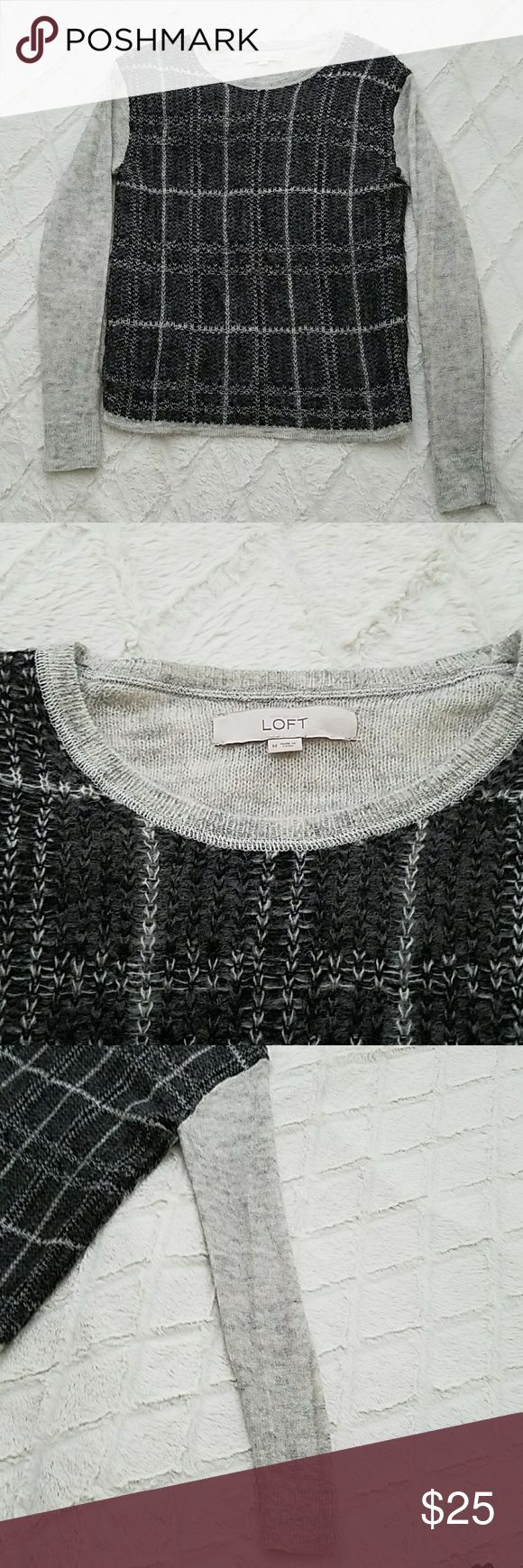 Ann Taylor Loft Sweater Checkered Dark Grey Med Anne Taylor Loft Dark Grey Front  Light grey Sleeves and Back Medium Lightweight 39% Acrylic 35%Nylon 26% Mohair Great Condition like new!! LOFT Sweaters Crew & Scoop Necks