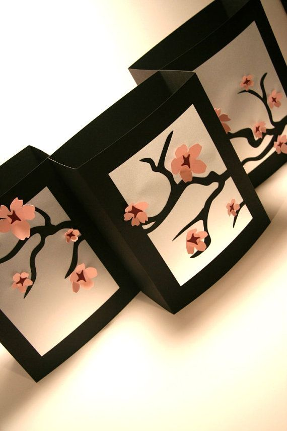 Cherry Blossom Luminary - Black White Pink - Home Decor - Wedding Decoration