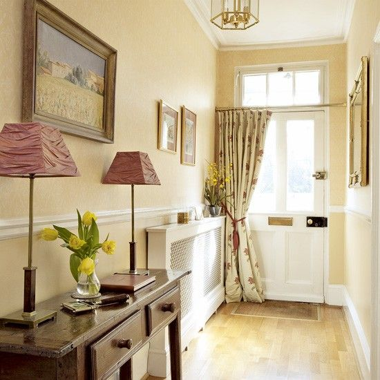 Warm wood hallway front door curtains dado rail and for Front door curtain ideas