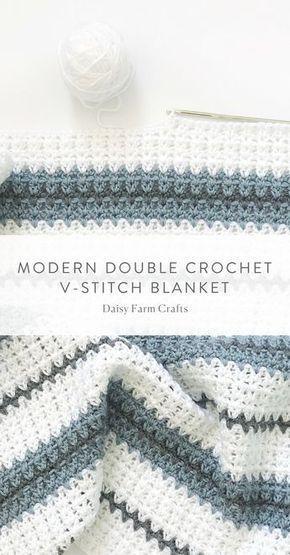 Free Pattern – Modern Double Crochet V-Stitch Blanket # Crochet