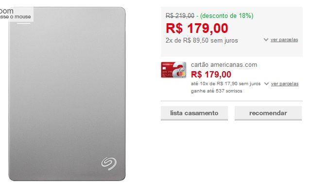 HD Externo Portátil Seagate Backplus Slim 500GB Prata USB 3.0 << R$ 17900 em 2 vezes >>