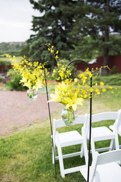 Bright & sunny yellow aisle markers for your wedding ceremony! {Two One Photography}