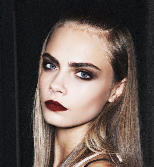 eyes + Dark lips Dark Eye, Beautiful, Delevingne Face, Red Lips, Blue ...