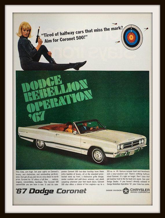 1966 Dodge Coronet 500 Advertisement. Vintage by vintageadsnprints