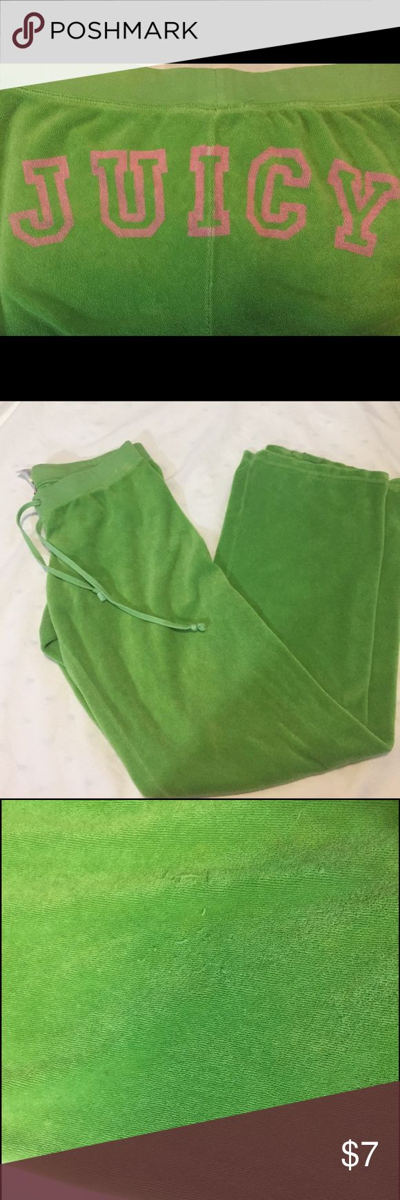 JUICY COUTURE Lime green velour track pants Super comfy JUICY track pants. Some light wear (see pics). Size Small Juicy Couture Pants Track Pants & Joggers