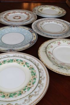 Mismatched China For Rent for weddings http://allthingstreasured.wix.com/eventsproprental