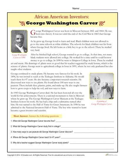 A free, printable worksheet about African American Inventor, George Washington Carver. Students learn by reading the passage and answering questions.