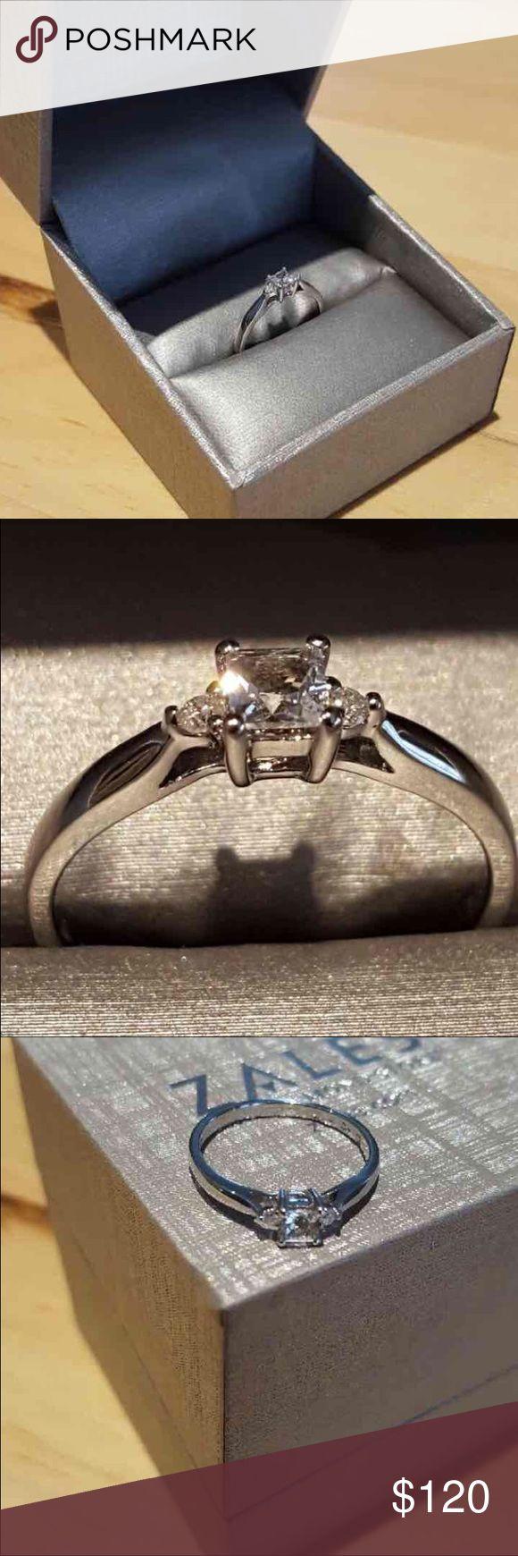 Zales Size 7 Princess Cut Diamond Accent Ring
